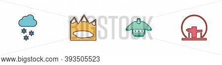 Set Cloud With Snow, Canadian Lake, Christmas Sweater And Montreal Biosphere Icon. Vector