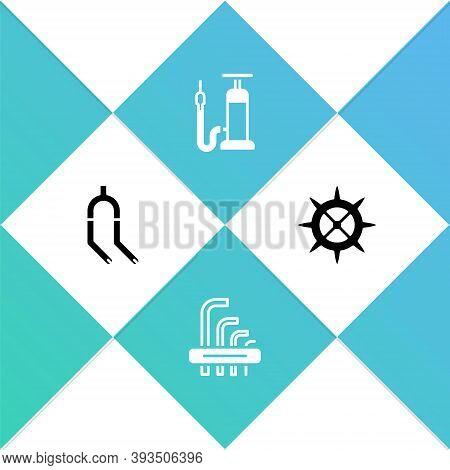 Set Bicycle Fork, Tool Allen Keys, Air Pump And Sprocket Crank Icon. Vector