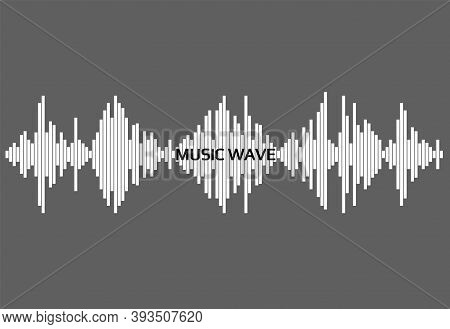 White Audio Wave On Gray Background. Modern Music Equalizer Element. Vector Flat Isolated Waveform