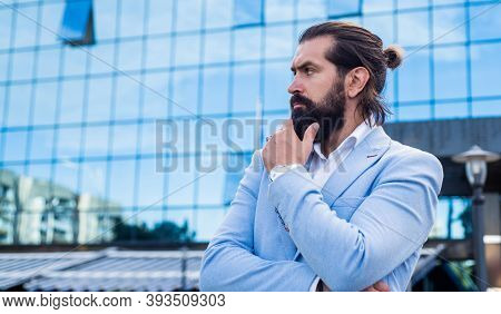 Perfect Male. Facial Hair Care. Mature Brutal Man In Formal Wear. Fashionable Bearded Hipster Wear S