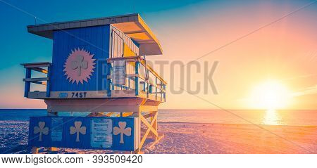 Miami South Beach Sunrise With Lifeguard Tower, Special Photographic Processing, Usa.