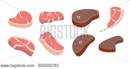 Vector Steak Icons Set. Degrees Of Steak Doneness. Grilled Steak, Beef Meats And Filet Mignon.