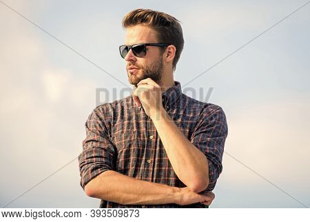 Male Natural Beauty. Sexy Man Sky Background. Male Fashion Style. Looking Very Trendy. Businessman I