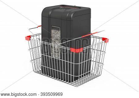 Paper Shredder Inside Shopping Basket, 3d Rendering Isolated On White Background