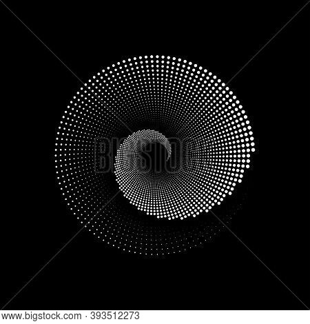 Spiral Halftone Background Logo Design, Round Dots Texture Geometric Op Art Dotted Circles. Trendy W