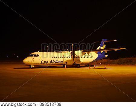 Luang Prabang, Laos - 24 Feb 2012: The Airplane Of Lao Airlines In Luang Prabang, Laos