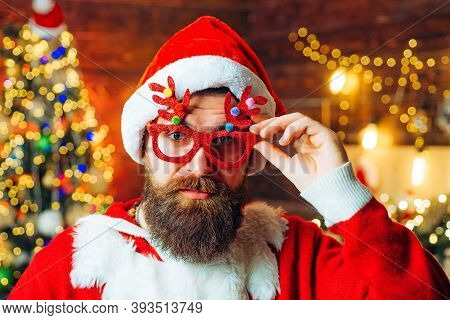 Santa Wishes Merry Christmas. Happy Winter Time. Santa Claus Wishes Merry Christmas And Happy New Ye