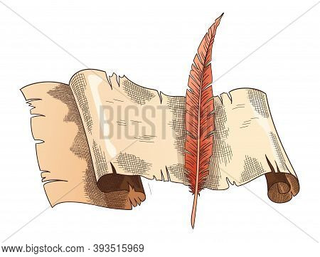 Old Books. Vector Old Scroll Paper With Vintage Antique Quill. Parchment Paper. Retro Writing Statio