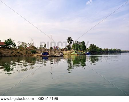 Mekong, Laos - 27 Feb 2012: The Ferry On Mekong River, Laos