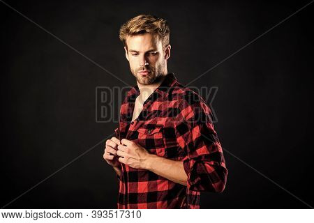 Hipster Black Background. Exhibit Masculine Traits. Standards Of Manliness Or Masculinity. Manliness
