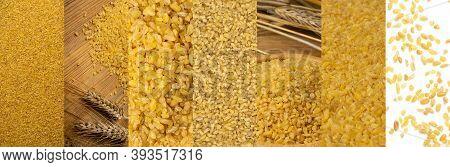 Bulgur Texture Food Collage, Various Raw Bulghur Collection