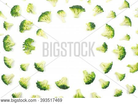 Broccoli Florets Pattern Isolated On White Background