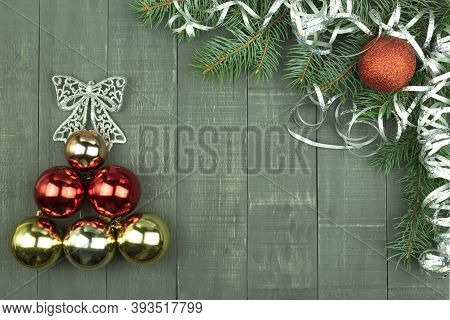 Christmas Toys And Serpentine As Background With Place For Text. Traditional Christmas Toys, Balls A