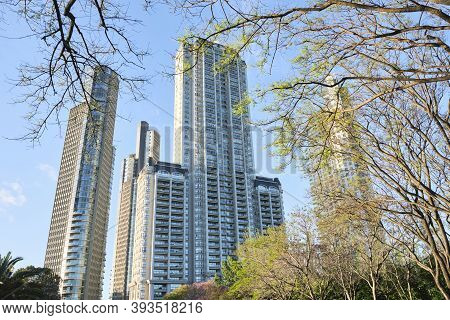 Caba, Buenos Aires / Argentina; Nov 4, 2020: Residential Buildings In The Most Modern Neighborhood O