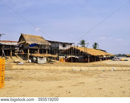 Mekong, Laos - 28 Feb 2012: The Village On Mekong River, Champassak, Laos