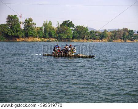 Mekong, Laos - 29 Feb 2012: The Ferry On Mekong River, Laos