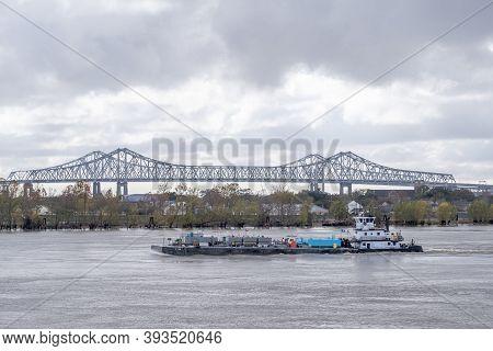New Orleans, La -  December 28: Loaded Barge Travels Down The Mississippi River On December 28, 2019