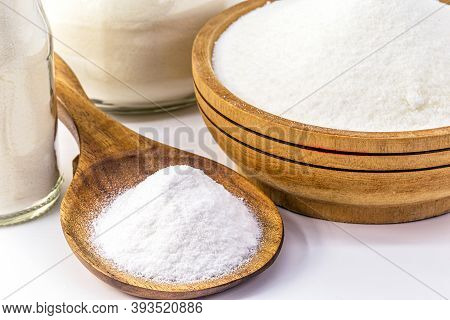 Sodium Bicarbonate On Isolated White Background, Chemical Compound In Crystalline Powders, Used As A