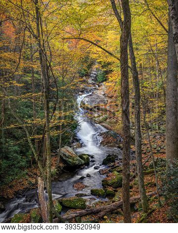 Lazy Stream Flowing Along A Hiking Trail In The Smokies During Peak Fall Color