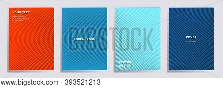 Semicircle Lines Halftone Grid Covers Vector Set. Futuristic Brochure Title Page Layouts. Banners, P