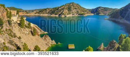 Panorama Of Pantano De Contreras, Spain. This Is A Lake With A Dam Between The Regions Of Valencia A