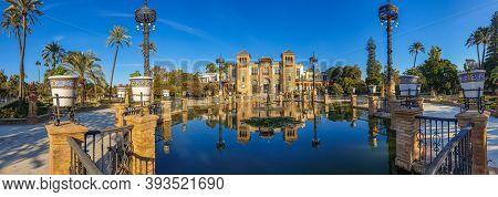 Panorama Of Monuments Of Seville In Park Maria Luisa, Plaza De America, Close To Plaza De Espana, Se