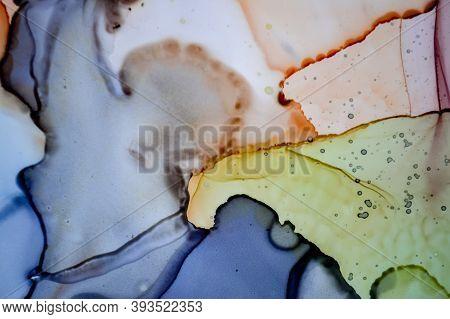 Alcohol Inks Illustration. Wash Art Canvas. Sophisticated Texture. Red Modern Marble. Rainbow Splash