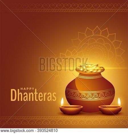 Decorative Happy Dhanteras Golden Background With Kalash And Diya