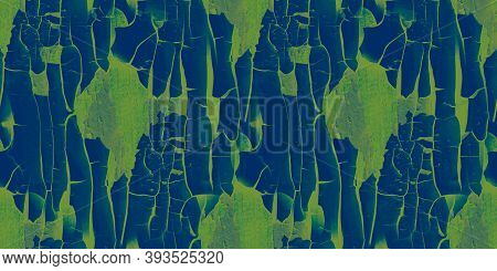 Cracked Paint Texture. Blue Worn Crackle Surface. Abstract Rough Fence. Distress Tree Material. Gree