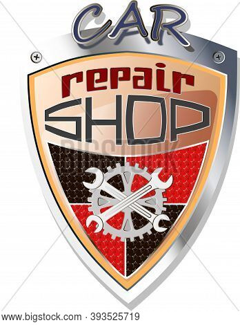 Repairs Gold Shiny Emblem. Car Repare Shop Badge.