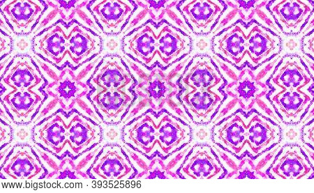 Seamless Tile Ethnic. Repeated Bohemian Wallpaper. Abstract Ink Aquarel Effect. Red And Purple Color
