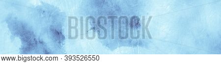 Paint Aquarel Spots Texture. Blue Sky Gradient Print. Crumpled Vintage Craft. Watercolor Paint Splat
