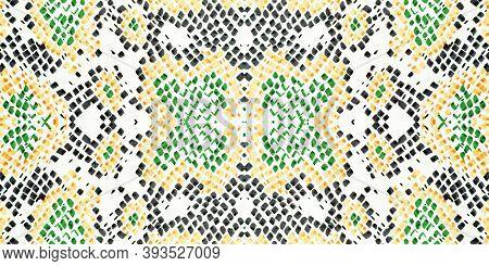 Seamless Cobra Pattern. Python Leather Animal Print. Jungle Safari Background. Colorful, Multicolor