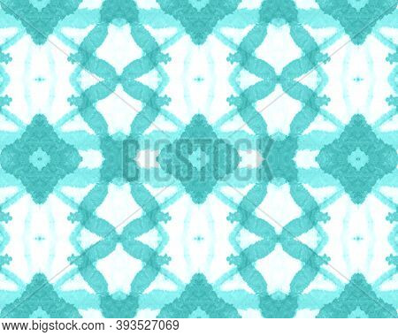 Seamless Watercolor Geometry. Dyed Tile Print. Artistic Paint Bohemian Background. Arabesque, Persia