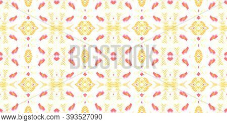 Seamless Watercolor Peru Pattern. Abstract Handdrawn Geometric Ethnic Background. Red And Orange Col