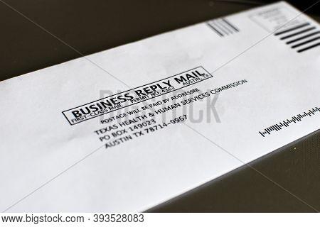 San Antonio, Tx/usa - November 6, 2020 - Business Reply Mail, First Class, Texas Health And Human Se