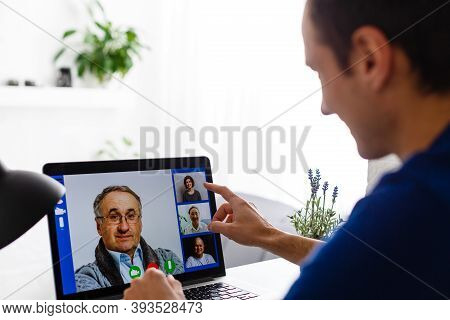 Self Employed Man Work From Home. Concept Photo Of People Working From Home, Home Jobs, Distance Edu