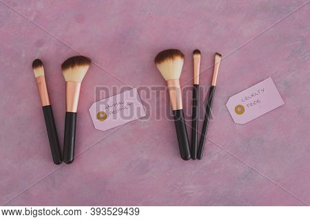 Cruelty Free Vs Animal Products Concept, Sets Of Make Up Brushes With Labels