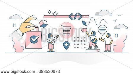 E-commerce Retail Shop With Customer Product Purchase Online Outline Concept. Distant Shopping In St