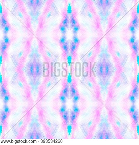 Seamless Native Ethnic Pattern. Artistic Drawn Geometric Ethnic Print. Asian Blue And Pink Tile. Ind