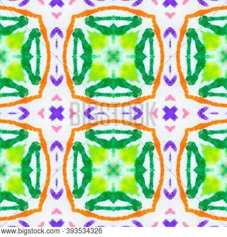 Portuguese Tile. Colorful Summer Squares. Ethnic Wallpaper. Traditional Native Swimwear Print Design