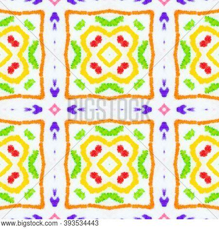 Azulejo Ornament. Ornamental Carpet Design. Colorful Summer Squares. Ethnic Texture. Watercolour End