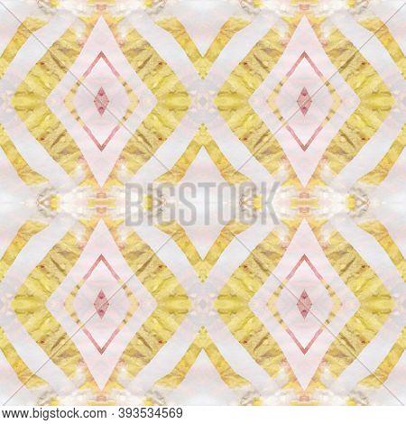 Geometric Rug Pattern. Pastel Brown, Pink Blue Seamless Texture. Seamless Tie Dye Rapport. Ethnic Pe