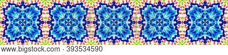 Aztec Rugs. Seamless Tie Dye Illustration. Ikat Islamic Motif. Dots, Red, Green, Blue Seamless Textu