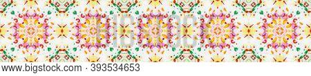 Tribal Boho Pattern. Repeat Tie Dye Ornament. Ikat Asian Motif. Abstract Batik Motif. Red, Green, Bl