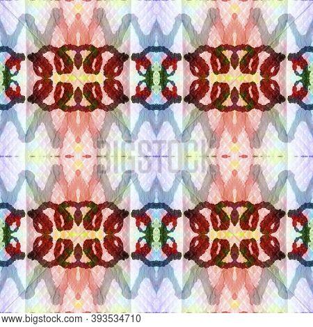 Tribal Boho Pattern. Abstract Shibori Print. Blue, Green, Indigo, Denim Seamless Texture. Seamless T
