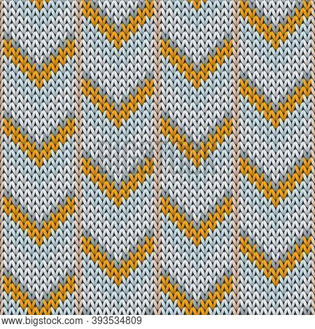 Cotton Downward Arrow Lines Knit Texture Geometric Vector Seamless. Ugly Sweater Knitwear Fabric Pri