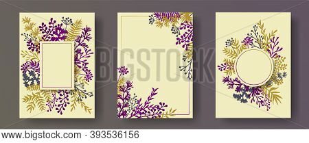 Simple Herb Twigs, Tree Branches, Flowers Floral Invitation Cards Collection. Herbal Frames Modern I