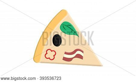 Triangle Pizza Slice With Fresh Vegetables And Crispy Crust. Tasty Fast Food. Flat Vector Element Fo