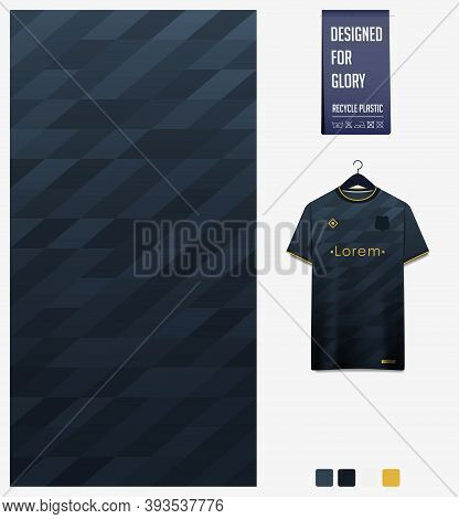 Fabric Pattern Design. Geometric Pattern On Black Background For Soccer Jersey, Football Kit, Bicycl